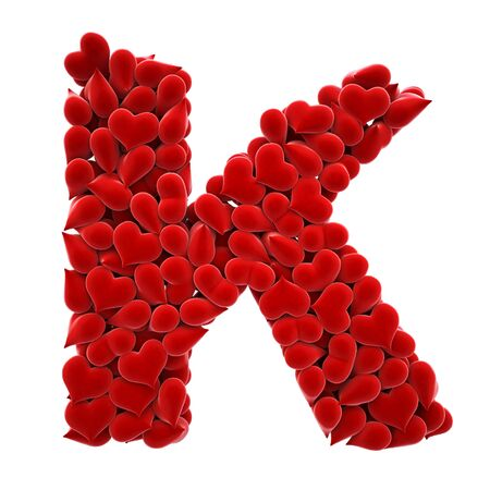 a lot of hearts of velvet in the form of letters. Stock Photo - 6682276