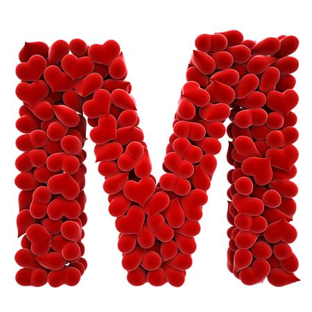 a lot of hearts of velvet in the form of letters. Stock Photo - 6681547