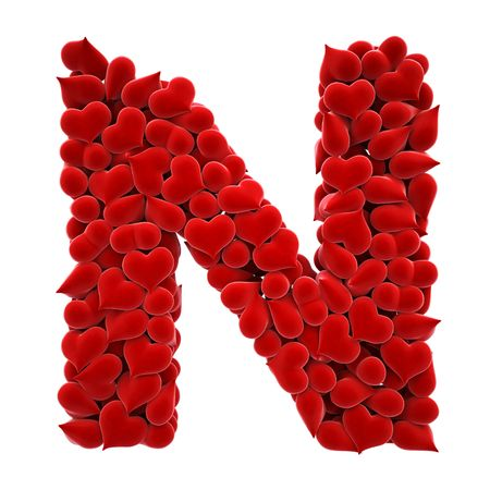 3d cg: a lot of hearts of velvet in the form of letters.  Stock Photo