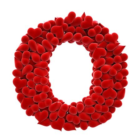 velvet: a lot of hearts of velvet in the form of letters. Stock Photo