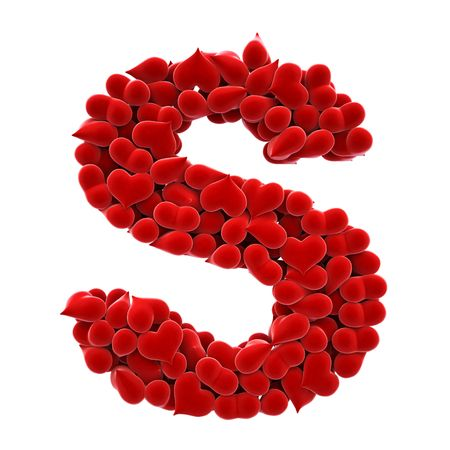 matted: a lot of hearts of velvet in the form of letters. Stock Photo