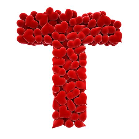 magnet: a lot of hearts of velvet in the form of letters. Stock Photo