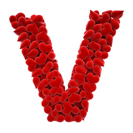a lot of hearts of velvet in the form of letters. Stock Photo - 6681753