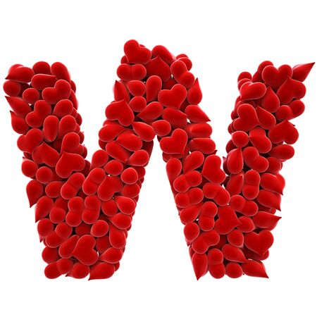 a lot of hearts of velvet in the form of letters. photo