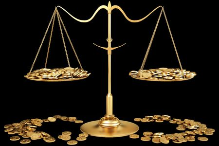 estimate: a lot of gold coins on gold scales.