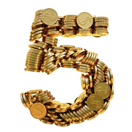 coins of gold in the form of numbers.  photo