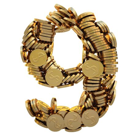 matted: coins of gold in the form of numbers.