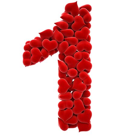 fourteen: a lot of hearts of velvet in the form of letters. Stock Photo