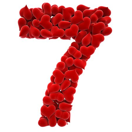 a lot of hearts of velvet in the form of letters. Stock Photo - 6681673