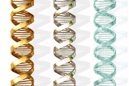 helix: three chains of DNA. gold, silver and ice.