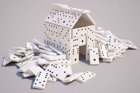 house built of dominoes.  photo