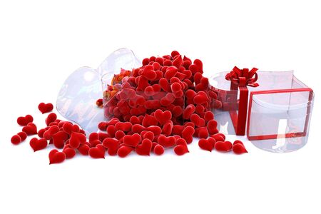 clarity: hearts of velvet in a glass box in the form of the heart.