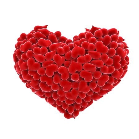 amour: heart of velvet in a large heart.  Stock Photo