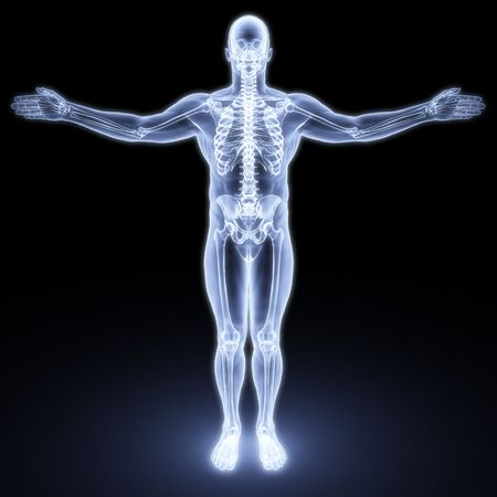 chest x ray: corpo maschile sotto i raggi X. rendering 3D