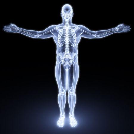 esqueleto humano: cuerpo masculino bajo los rayos X. procesamiento 3D Foto de archivo