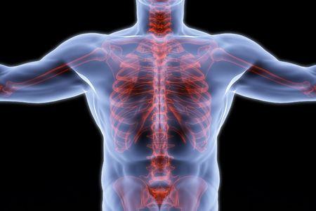 human breast x-ray. isolated on black photo