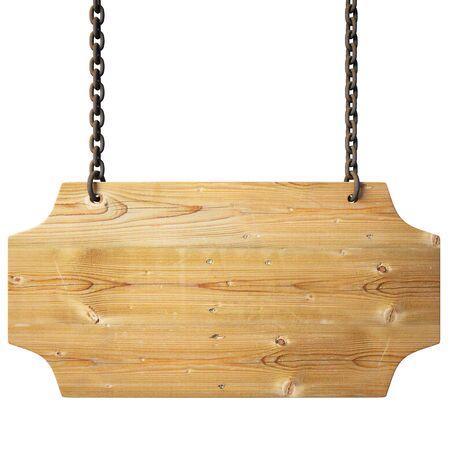 cadenas: se�al de madera en las cadenas.