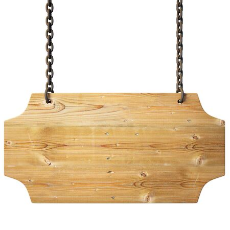 memo board: wooden sign on the chains.  Stock Photo