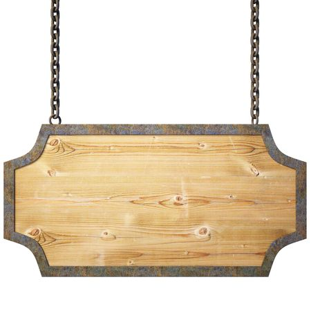 wooden plaque: wooden sign on the chains.