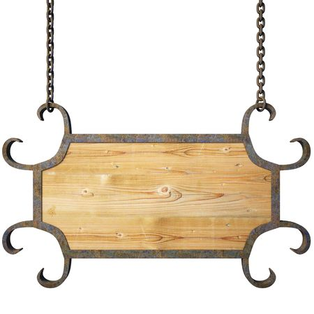 memo board: wooden sign on the chains.
