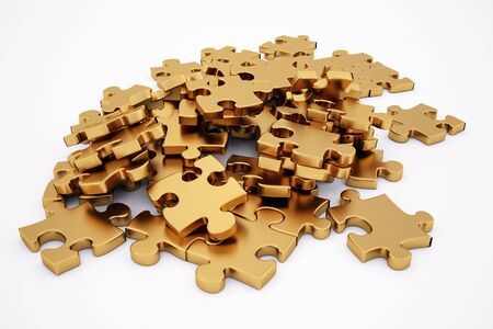 allow: golden puzzle. isolated on white