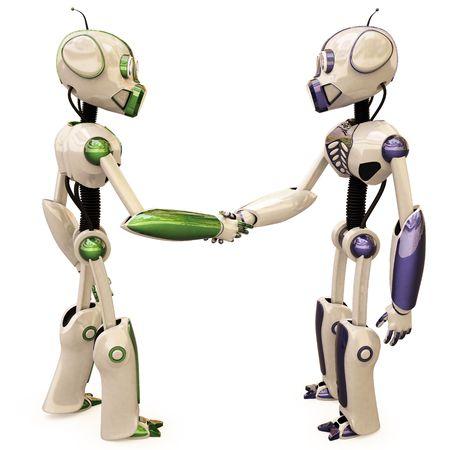 zwei Roboter Schütteln Hände.