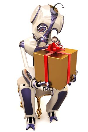 robot is sitting on a chair and sees a golden gift.  photo