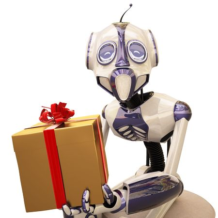 robot is sitting on a chair and holding a golden gift.  photo