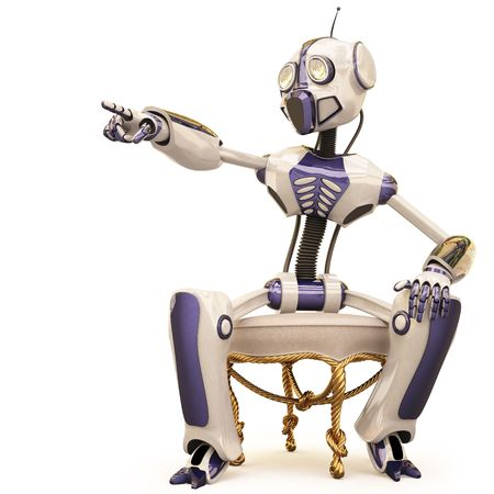 robot is sitting on a chair and pointed his finger. Stock Photo - 6681980