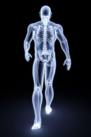 walking man under X-rays. 3d render. photo