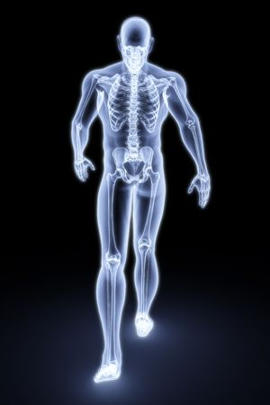 spine x ray: walking man under X-rays. 3d render.