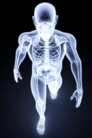 skeletal: walking man under X-rays. 3d render.