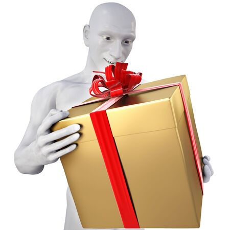 man with surprise in his hands a gift. Stock Photo - 6682304