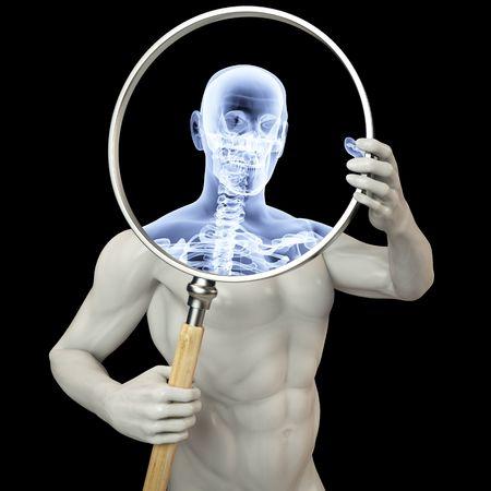 man shines his legs x-rays through a magnifying glass. photo