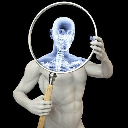 man shines his legs x-rays through a magnifying glass. Stock Photo - 6742016