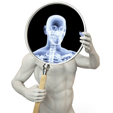 allocated: man shines his legs x-rays through a magnifying glass.