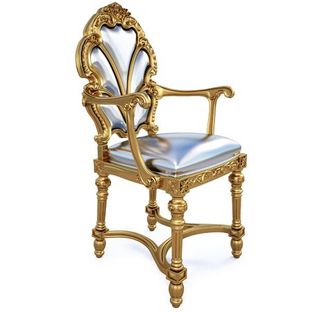 beautiful golden chair. isolated on white. photo