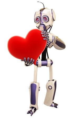 funny robot holding a large velvet heart. isolated on white photo