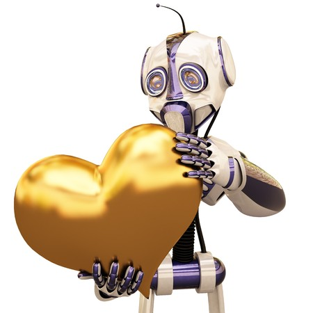 funny robot holding a large golden heart. isolated on white photo