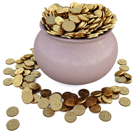 a lot of coins in the pot. Stock Photo - 6999440