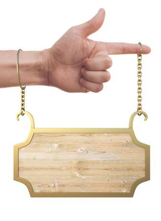 letreros: de la mano del hombre cuelga un signo. aislados en blanco.