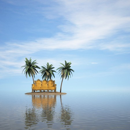 green couch: classic sofa stands on a desert island in the sea.