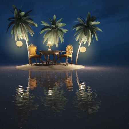 classic furniture on a desert island. night. photo