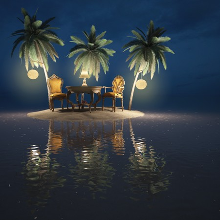 moon chair: classic furniture on a desert island. night. Stock Photo