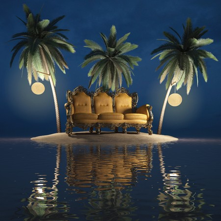 serenity: classic furniture on a desert island. night. Stock Photo