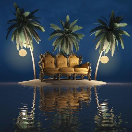 full moon romantic night: classic furniture on a desert island. night. Stock Photo