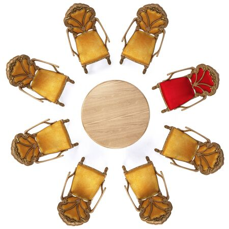 eight chairs around a round table. isolated on white. Stock Photo - 7444225