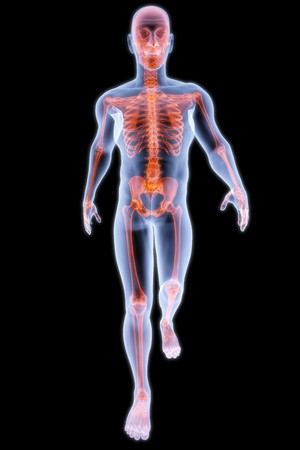 endurance run: walking man under X-rays. 3d render.