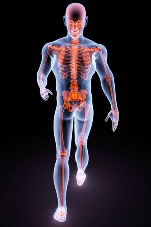 physical therapy: walking man under X-rays. 3d render.