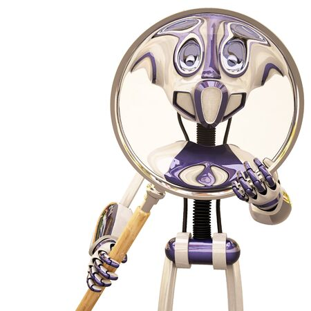 robot looks through a magnifying glass. 3D image. photo